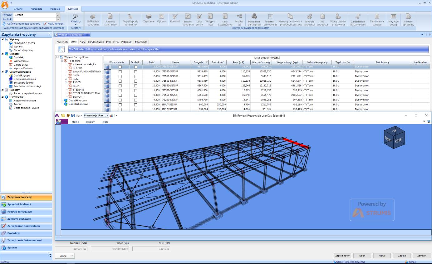 Wycen konstrukcji stalowych - moduł STRUMIS ESTIMATING - screan 2